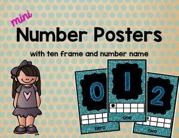 Mini Number Posters: 0-20 (Blue Glitter)