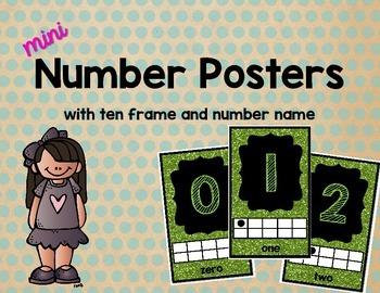 Mini Number Posters: 0-20 (Green Glitter)
