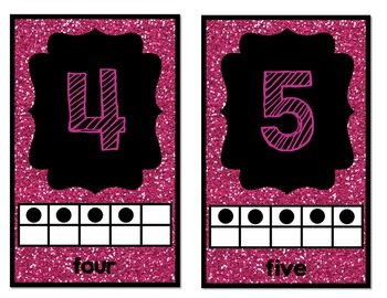 Mini Number Posters: 0-20 (Pink Glitter)