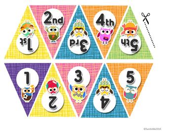 Mini Pennant Banner Set - Owl Theme