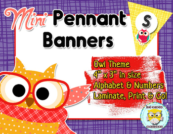 Mini Pennant Banner Set - Owl Theme