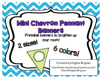 Mini Pennant Banners- Chevron Pattern, 6 BRIGHT and fun colors!