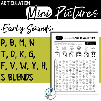 Articulation Mini Pictures - Early Sounds (NO-PREP)
