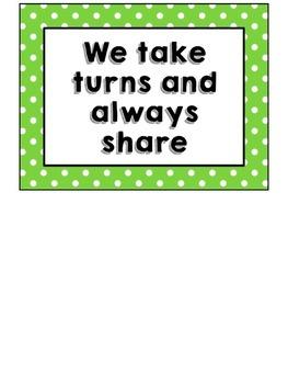 (Mini Polka-Dot Border) Three-Color Classroom Rules