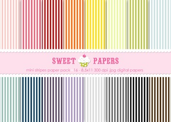 Mini Rainbow Stripes Digital Paper Pack - by Sweet Papers