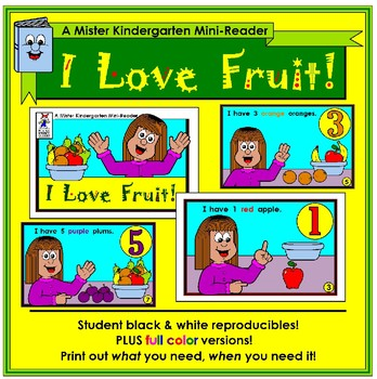 Mini Reader: I Love Fruit (Numbers 1-5, Color words)