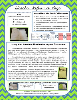 Mini Reader's Notebook w/ Scaffolding for Response Letters -Progressing Level