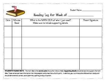 Mini-Reading Log Unit Bundle
