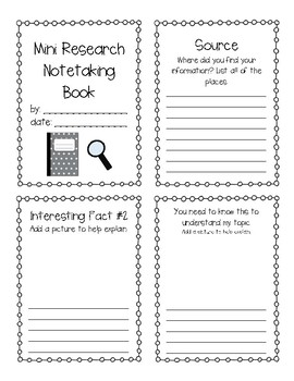 Mini Research Note-taking Book