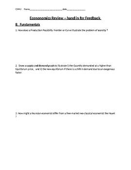 Mini Review for Economics 12 CIA4U