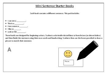 Mini Sentence Starter Books