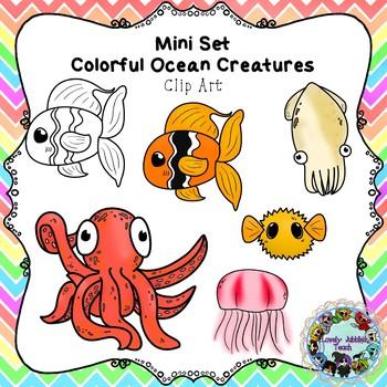 Mini Set: Colorful Ocean Creatures Clip Art