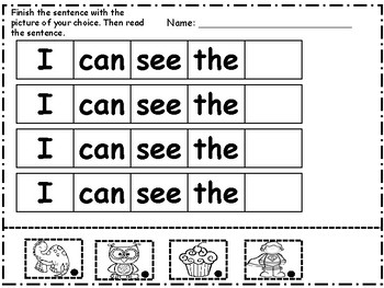 Mini Sight Word Packet----I CAN SEE THE
