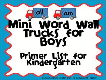 Mini Sight Word Trucks for Boys: Primer List for Kindergarten