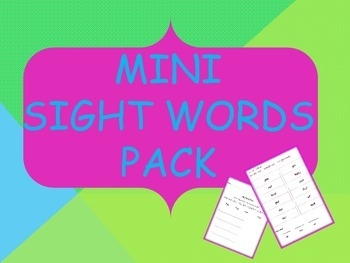 Mini Sight Words Pack ~ No Prep Needed