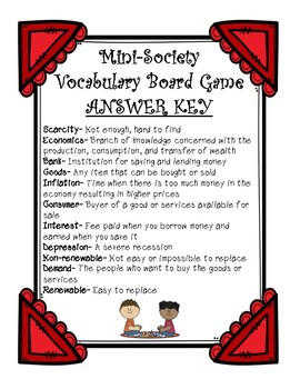 Mini-Society Vocabulary Board Game (Economics)