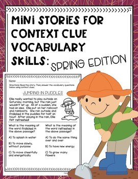 Mini Stories for Context Clue Vocabulary Skills: Spring Edition