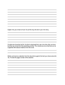 Mini-Story Characterization Activity (Via) for Wonder by R.J. Palacio