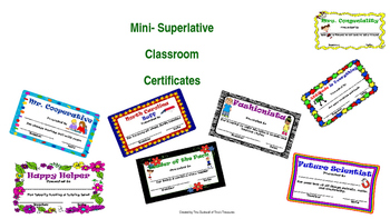 Rewards for the Classroom Mini-Superlative Certificates