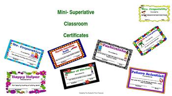 Mini-Superlative Classroom Certificates