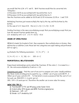 Mini Textbook Reference for Grade 8 Mathematics Ontario
