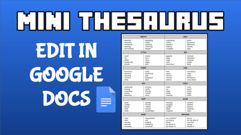 Mini Thesaurus (Editable on Google Docs)