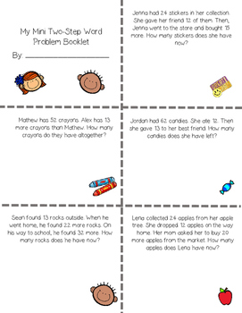 Mini Two-Step Word Problem Booklet (Addition and Subtraction)