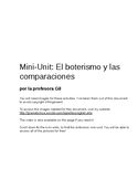 Mini-Unit: El boterismo y las comparaciones
