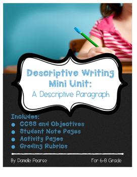 Mini Unit: Writing Descriptive Paragraphs