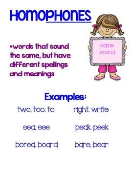 Mini Unit on Homophones, Homographs, & Homonyms (3rd-5th grade)