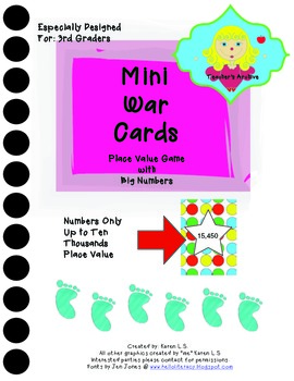 Mini War Cards Place Value Game with Big Numbers