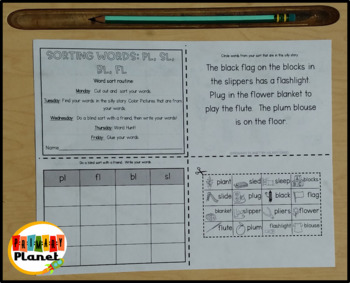 Mini Weekly Word Sort Digraphs and Consonant Blends