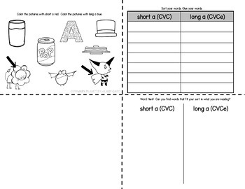 Mini Word Sorts for word work short and long vowels CVC and CVCe