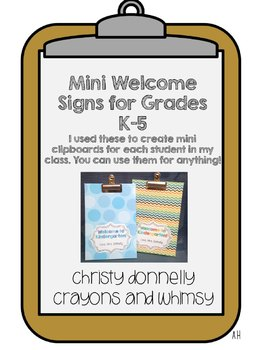 Mini Welcome to School Signs