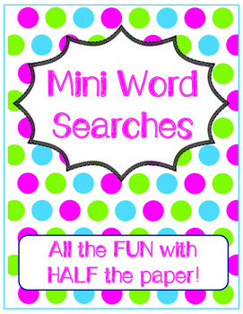Mini Word Searches - Assorted Topics