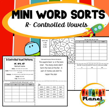 Mini Word Sorts for Word Work R-Controlled Vowels