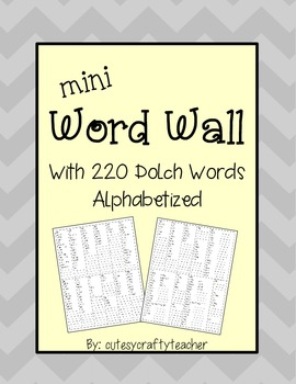 Mini Word Wall: Featuring All Dolch Word Lists
