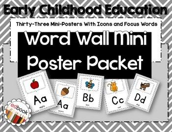 Word Wall Mini Poster Packet {Gray Chevron}