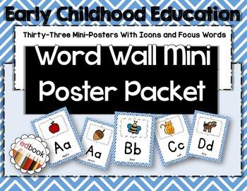 Word Wall Mini Poster Packet {Blue Chevron}