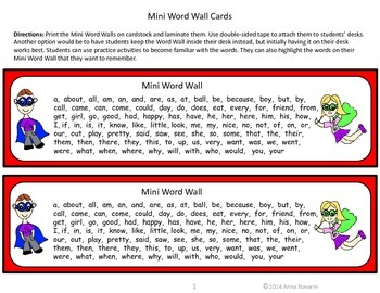 Mini Word Wall & Practice Activities