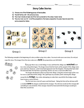 Mini Writing Activity using Story Cubes and Prepositions