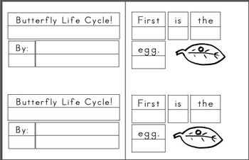 Mini Writing Book: Butterfly Life Cycle! Sequenced Vocab (