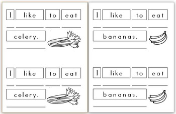 Mini Writing Book: Fruits and Vegetables! (4 differentiated versions)