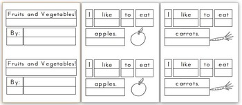Mini Writing Book: Fruits and Vegetables! (4 differentiate