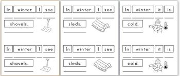 Mini Writing Book: Signs of Winter (4 differentiated versions)