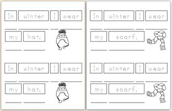 Mini Writing Book: Winter Clothes (4 differentiated vesions)