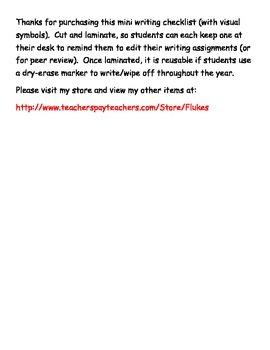 Mini Writing checklist (with visual symbols)