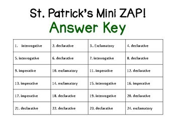 Mini ZAP St. Patrick's Day Declarative, Interrogative, Exclamatory, Imperative