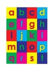 Mini alphabet colored letters with backgrounds - lowercase