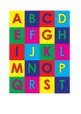 Mini alphabet colored letters with backgrounds - uppercase